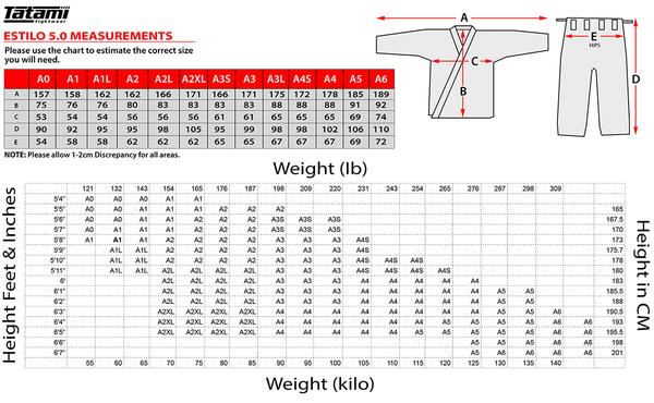 tatami estilo 5 sizing chart