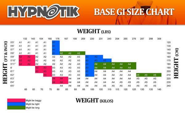 hypnotik base gi sizing chart