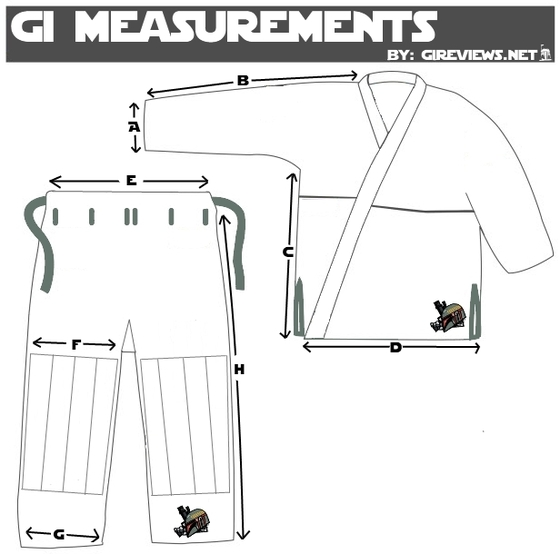Full Metal Jiu Jitsu BJJ Gi measurements