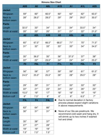 Hyperfly kimono size chart